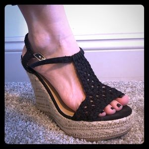 Black Crochet Summer Wedges